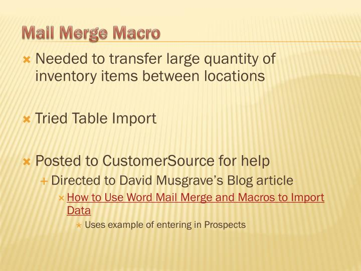 Needed to transfer large quantity of inventory items between locations