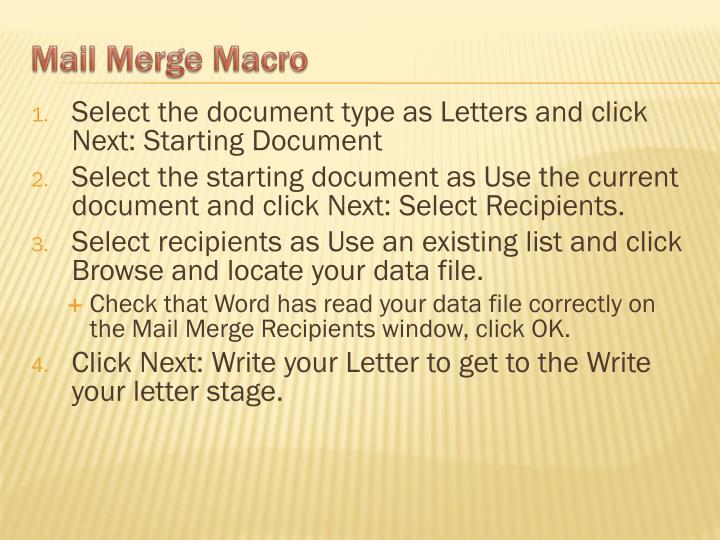 Select the document type as Letters and click Next: Starting Document