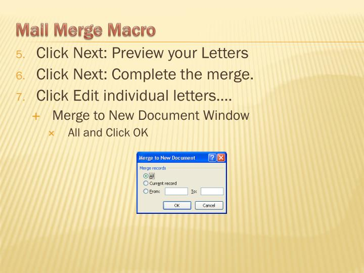 Click Next: Preview your Letters