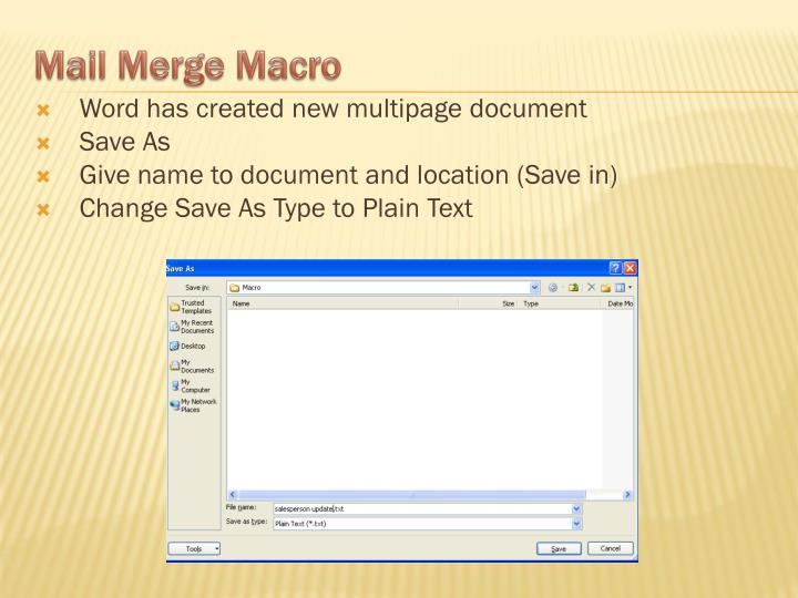 Word has created new multipage document