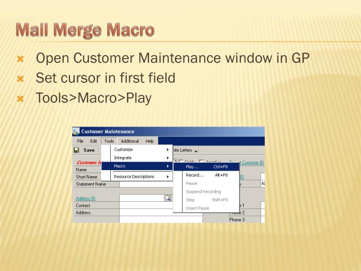 Open Customer Maintenance window in GP