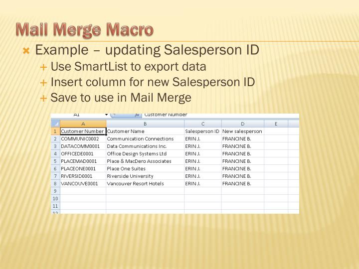 Example – updating Salesperson ID
