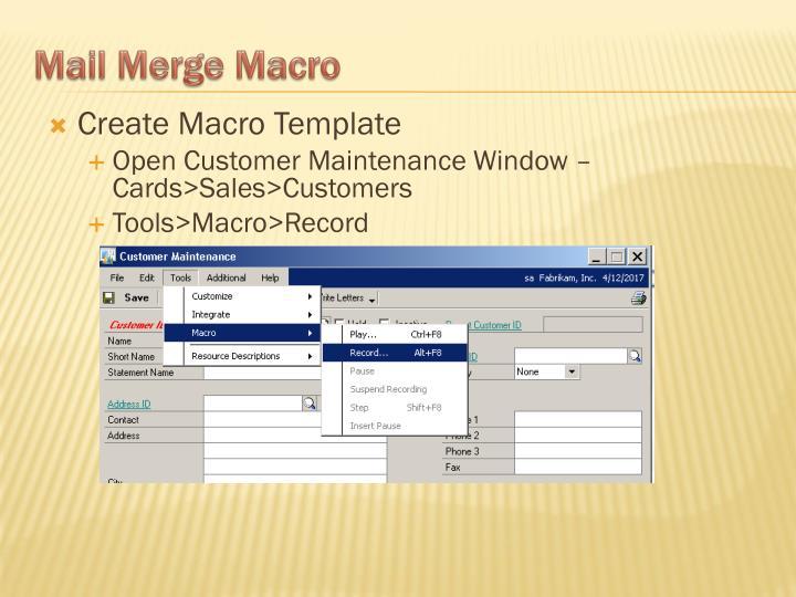 Create Macro Template