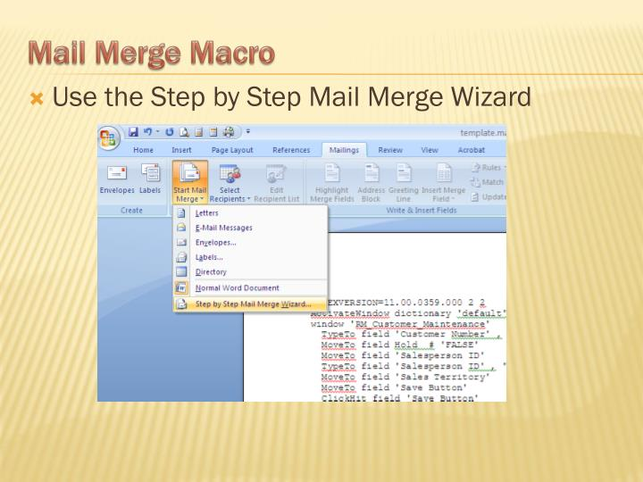 Use the Step by Step Mail Merge Wizard