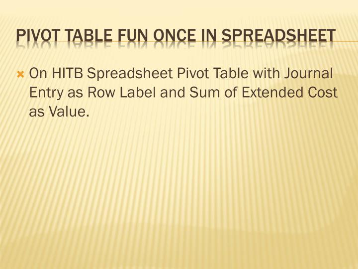 On HITB Spreadsheet Pivot Table with Journal Entry as Row Label and Sum of Extended Cost as Value.