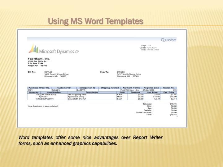 Using MS Word Templates