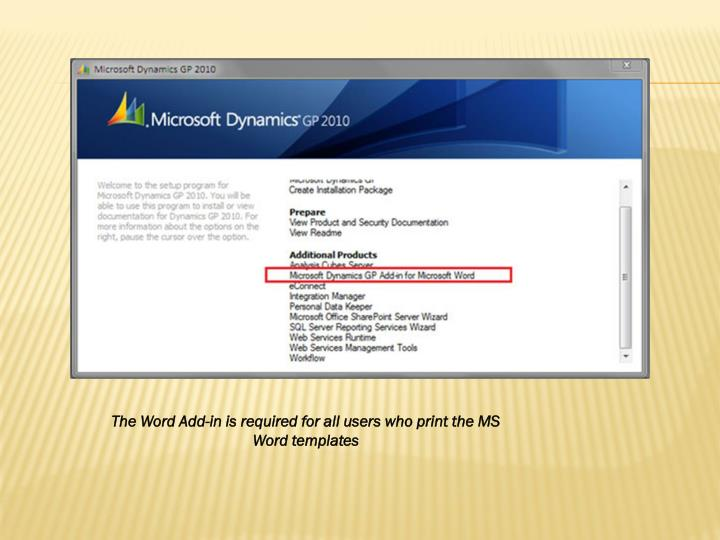 The Word Add-in is required for all users who print the MS Word templates