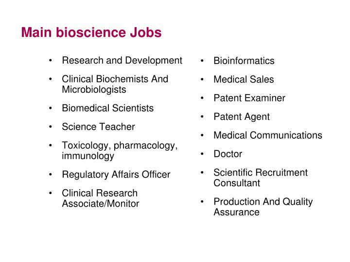 Main bioscience Jobs