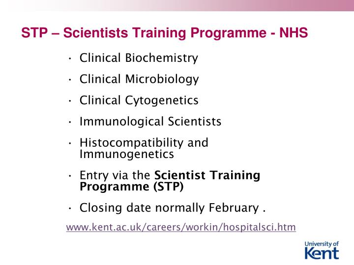 STP – Scientists Training Programme - NHS
