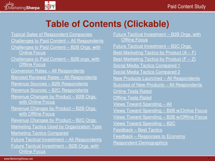 Table of contents clickable