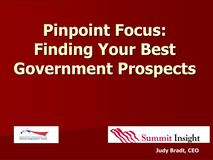 Pinpoint focus finding your best government prospects