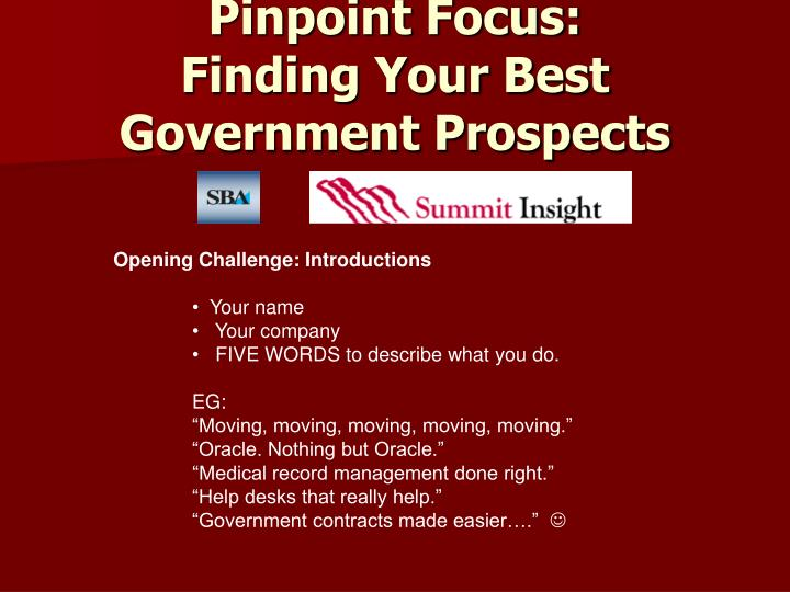 Pinpoint focus finding your best government prospects1