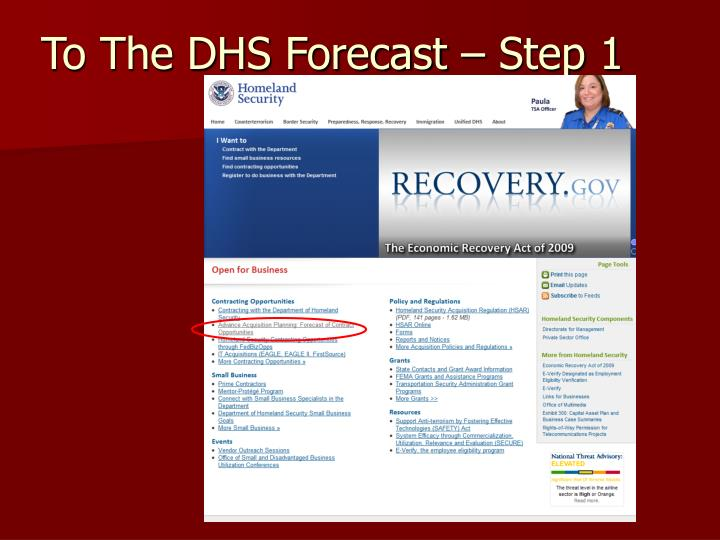 To The DHS Forecast – Step 1