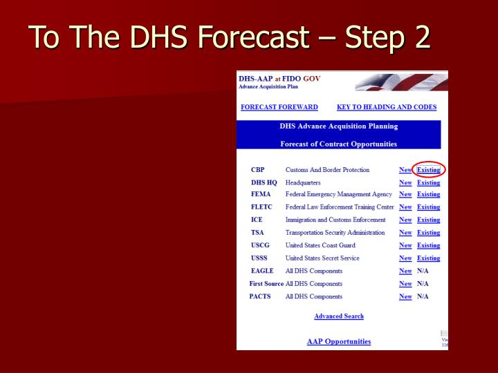 To The DHS Forecast – Step 2