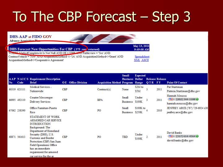 To The CBP Forecast – Step 3