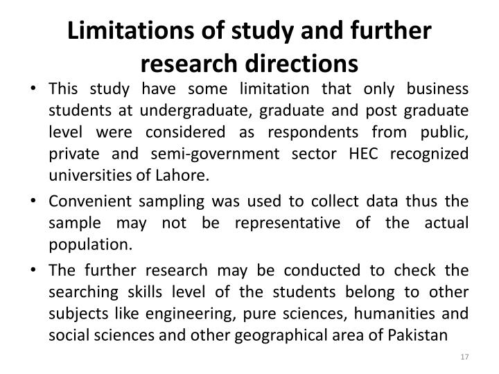 Limitations of study and further research