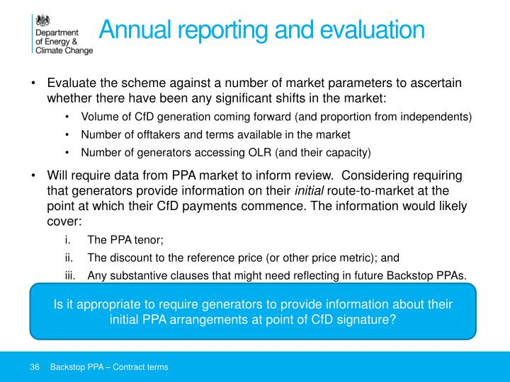 Annual reporting and evaluation