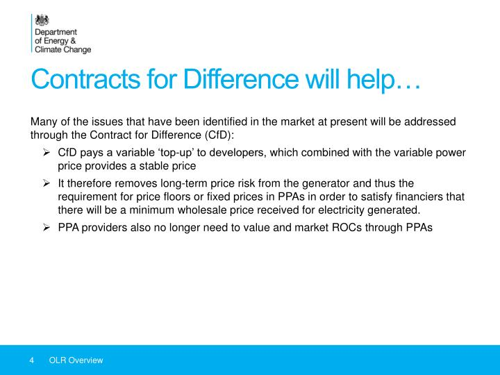 Contracts for Difference will help…