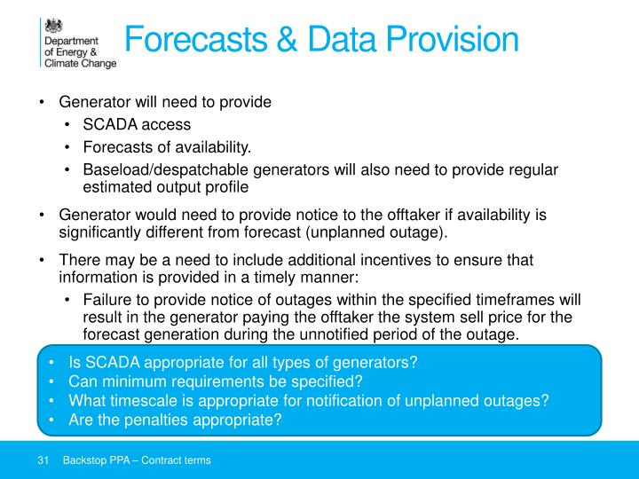 Forecasts & Data Provision