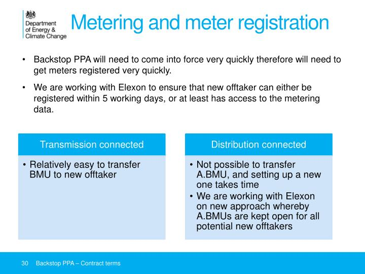 Metering and meter registration