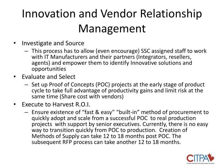 Innovation and Vendor Relationship Management