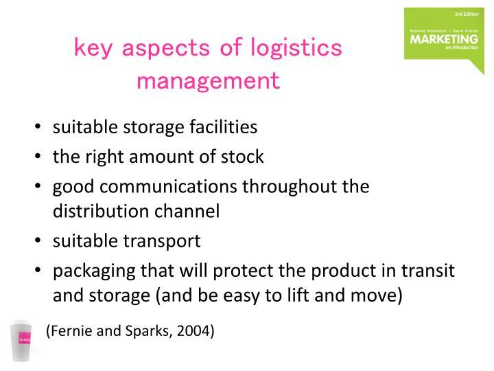 key aspects of logistics management