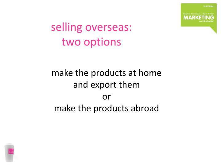 selling overseas:
