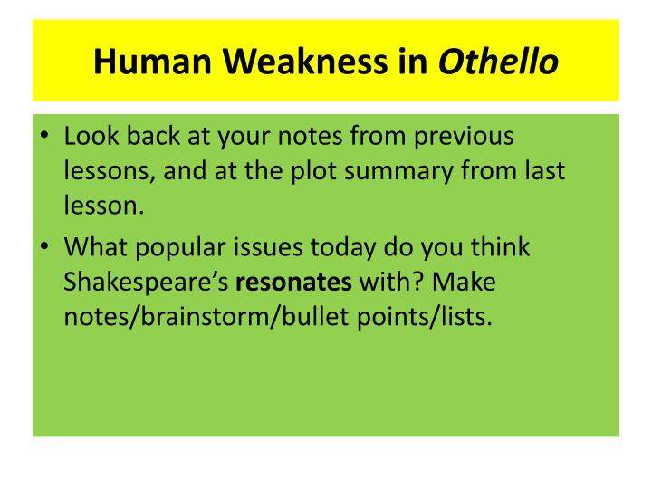 Othello plot summary bullet points