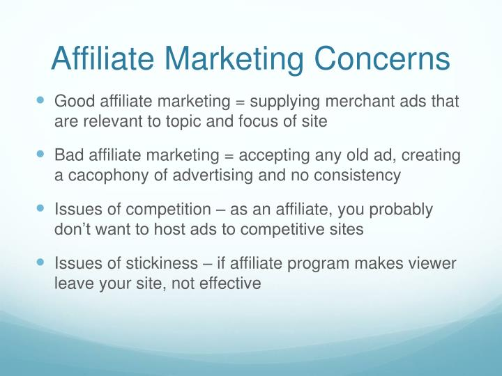 Affiliate Marketing Concerns