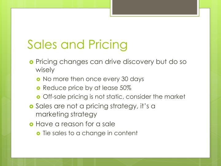 Sales and Pricing
