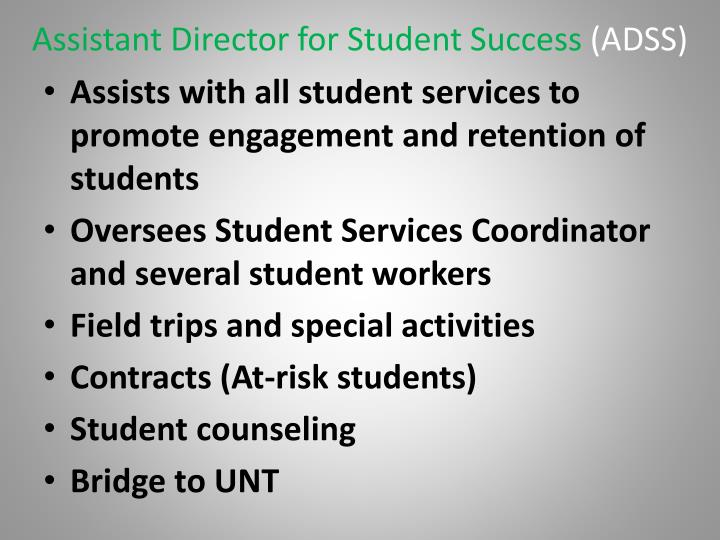 Assistant Director for Student Success