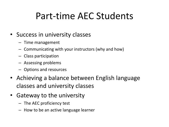 Part-time AEC Students