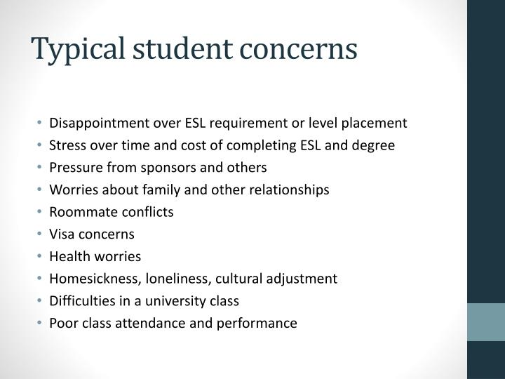Typical student concerns