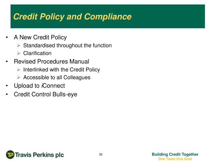 Credit Policy and Compliance