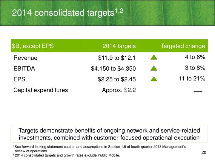 2014 consolidated targets