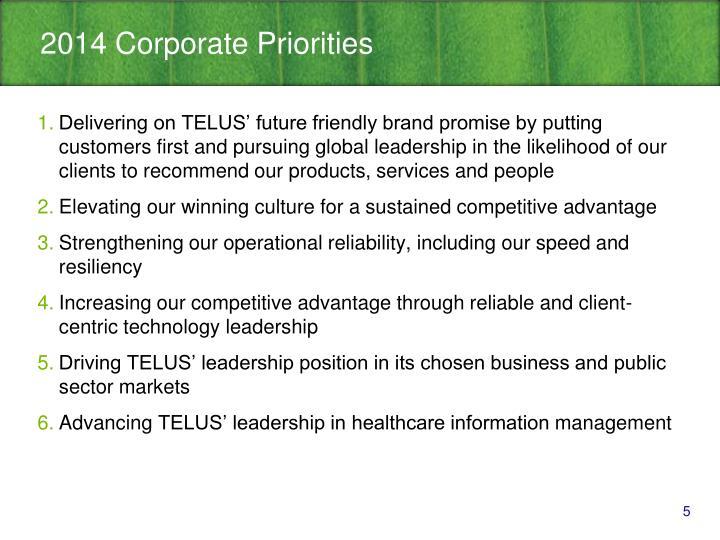 2014 Corporate Priorities