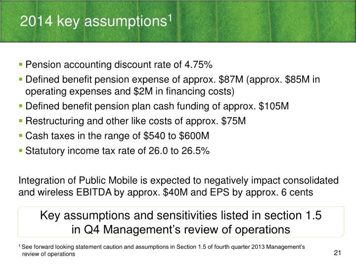 2014 key assumptions
