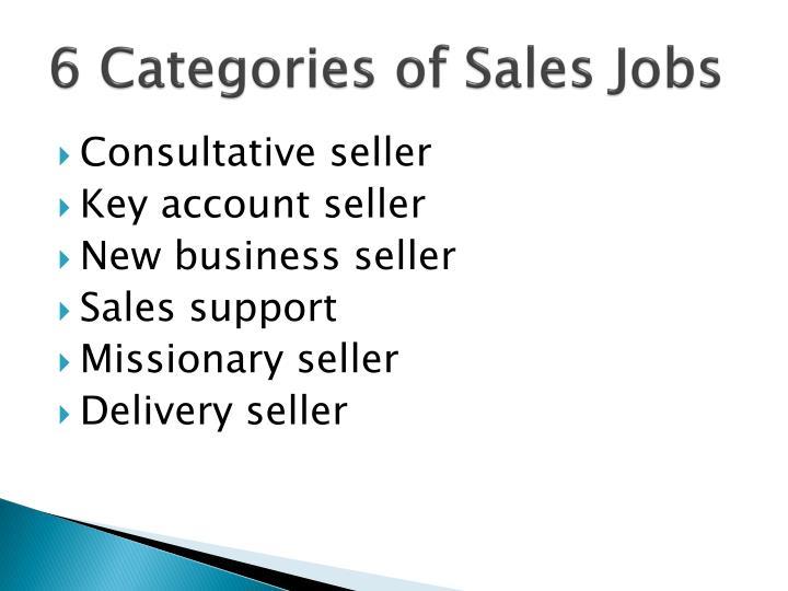 6 Categories of Sales Jobs