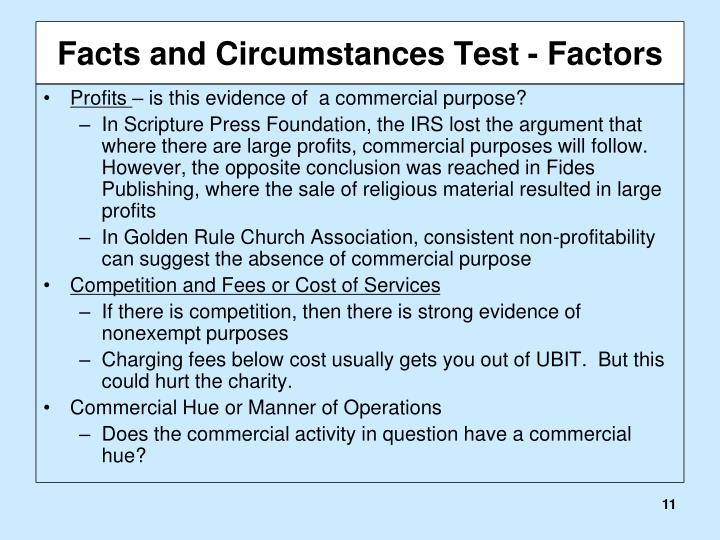 Facts and Circumstances Test - Factors