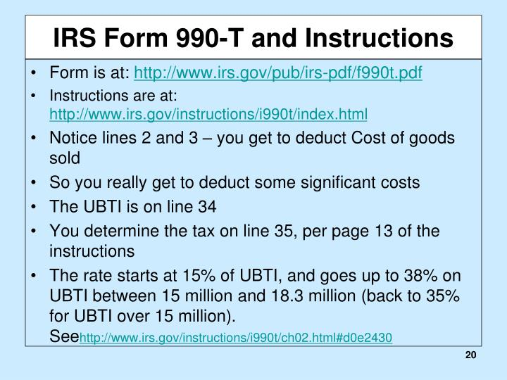 IRS Form 990-T and Instructions