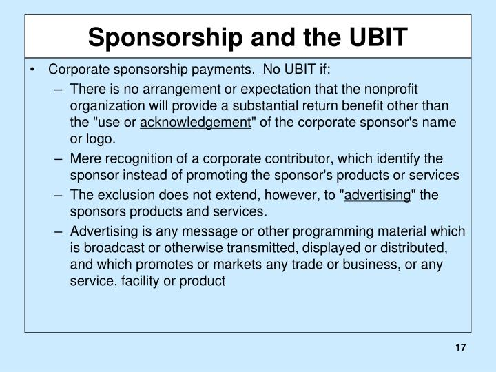 Sponsorship and the UBIT