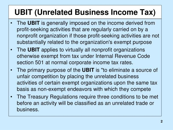 Ubit unrelated business income tax