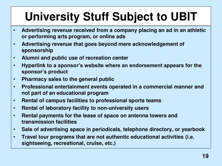 University Stuff Subject to UBIT