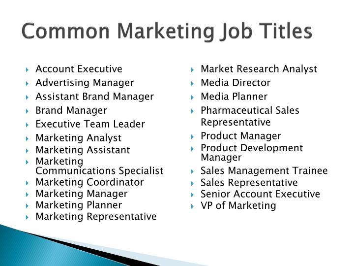Common Marketing Job Titles