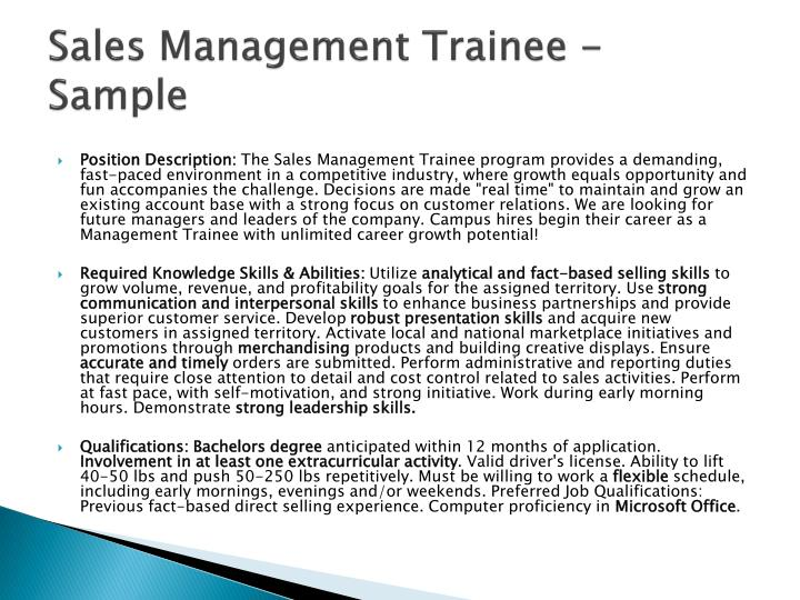 Sales Management Trainee - Sample