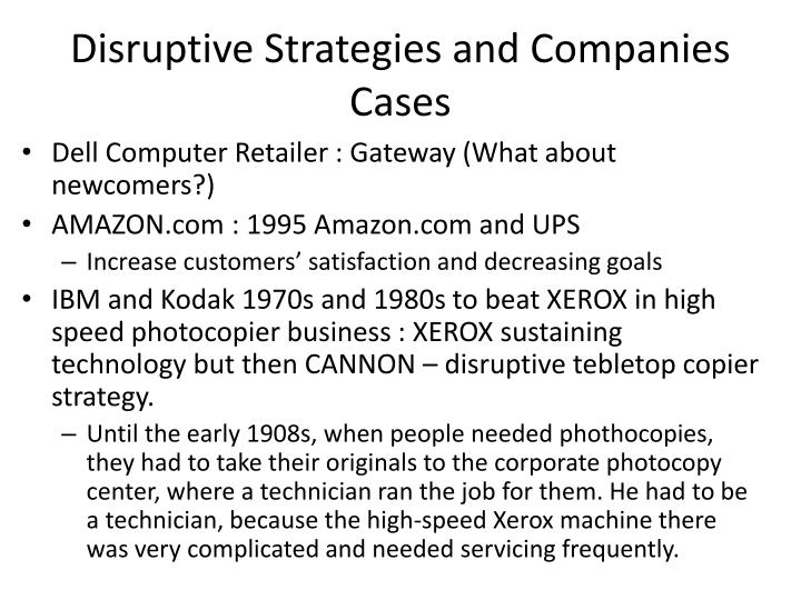 Disruptive Strategies and Companies Cases