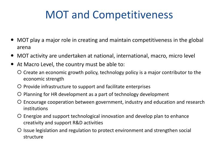MOT and Competitiveness