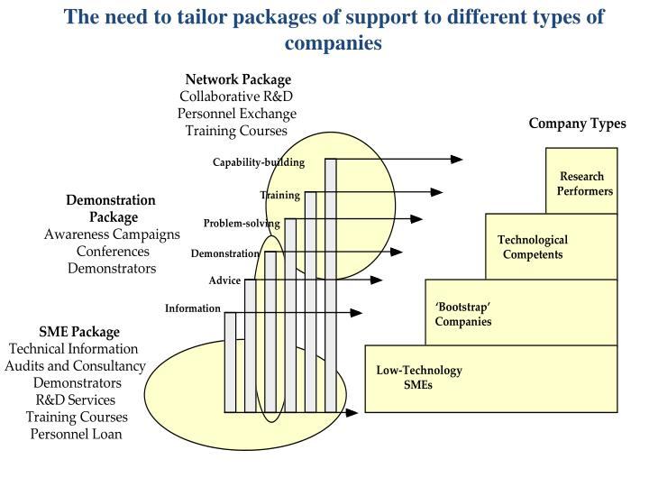 The need to tailor packages of support to different types of companies
