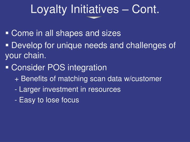 Loyalty Initiatives – Cont.