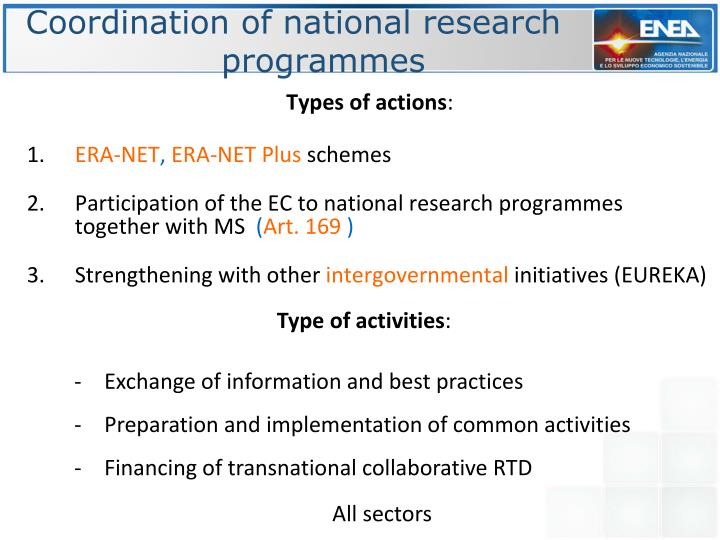 Coordination of national research programmes
